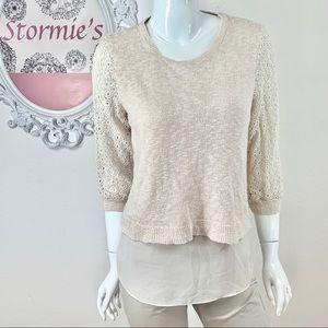 Lucky Brand / Cream Crochet Layered Split Back